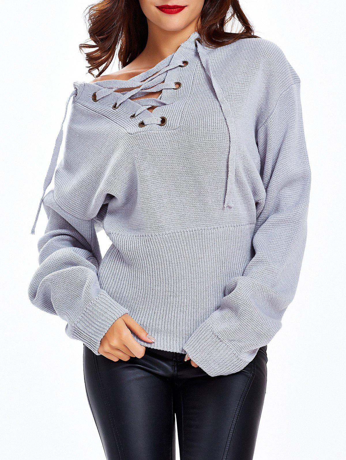 Discount Tied-Up Criss-Cross Loose Fitting Sweater