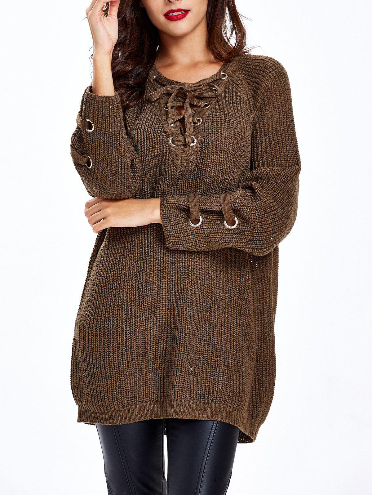 Lace Up Criss-Cross Long SweaterWOMEN<br><br>Size: ONE SIZE; Color: CHOCOLATE; Type: Pullovers; Material: Spandex; Sleeve Length: Full; Collar: V-Neck; Style: Fashion; Pattern Type: Solid; Season: Fall,Spring; Weight: 0.428kg; Package Contents: 1 x Sweater;