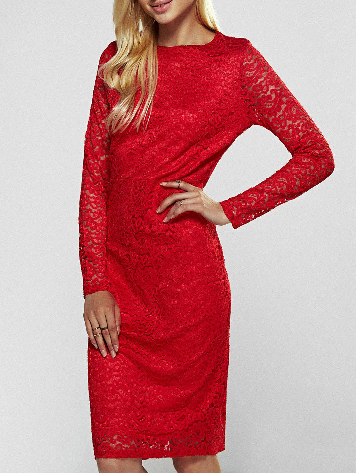 Online Lace Long Sleeve Sheath Evening Cocktail Dress