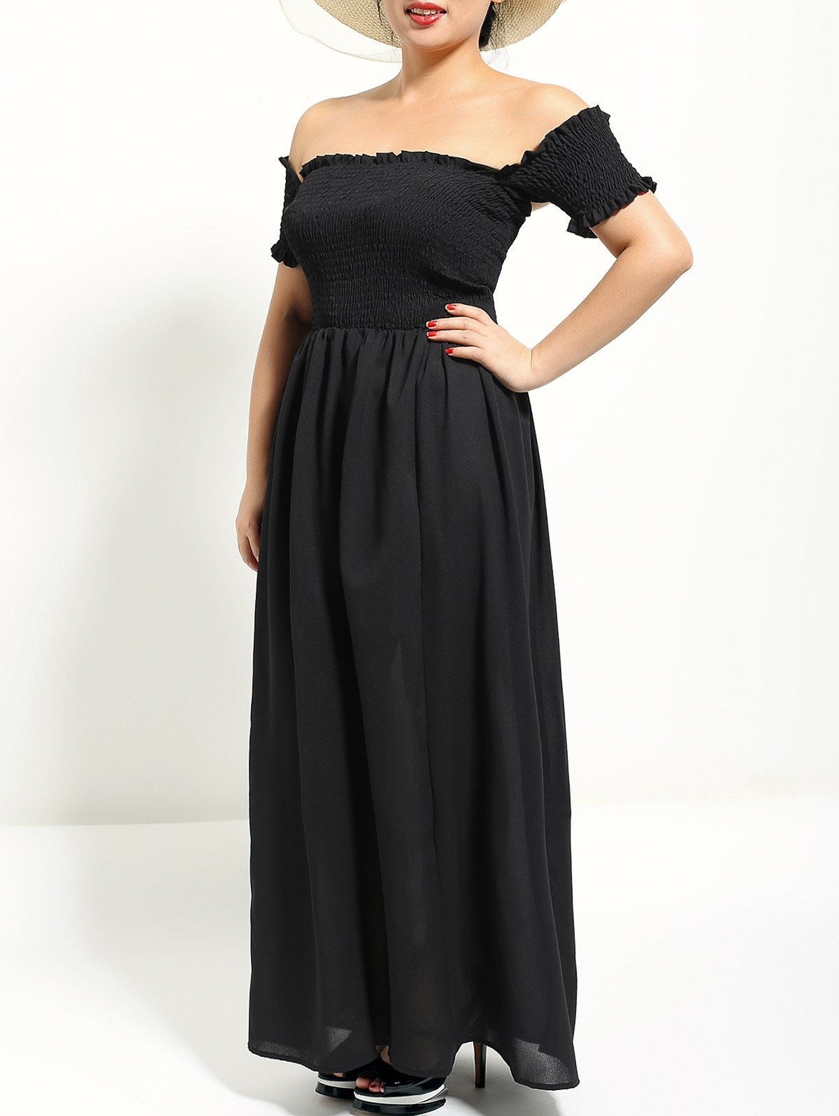 black s off the shoulder maxi formal prom dress rosegalcom