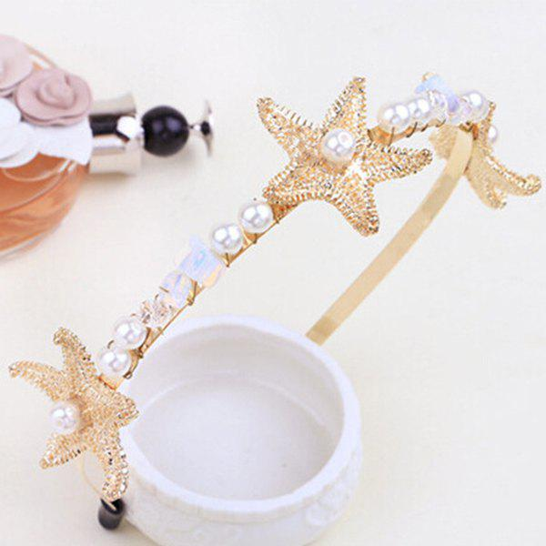 Outfit Etched Starfish Faux Pearl Natural Stone Hairband