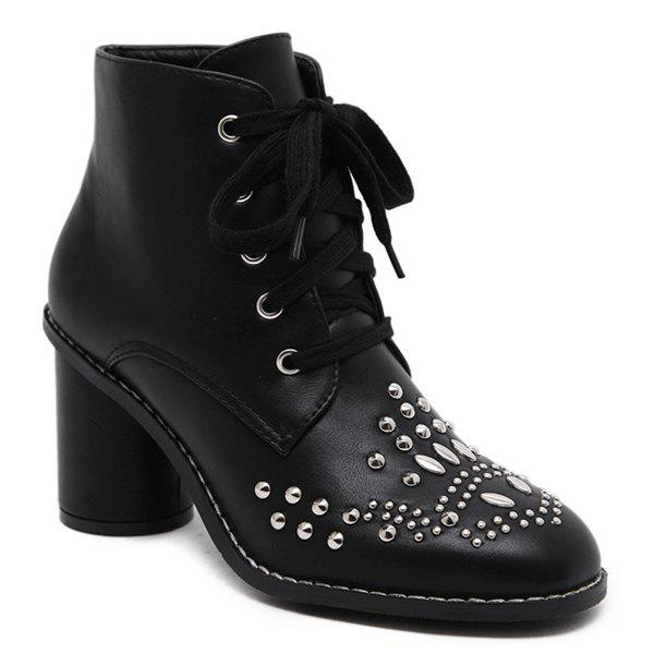 Latest Stitch Rivet Chunky Heel Lace Up Ankle Boots