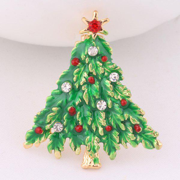 Christmas Tree BroochJEWELRY<br><br>Color: GRASS GREEN; Brooch Type: Brooch; Gender: For Women; Material: Resin; Metal Type: Gold Plated; Style: Trendy; Shape/Pattern: Plant; Weight: 0.032kg; Package Contents: 1 x Brooch;