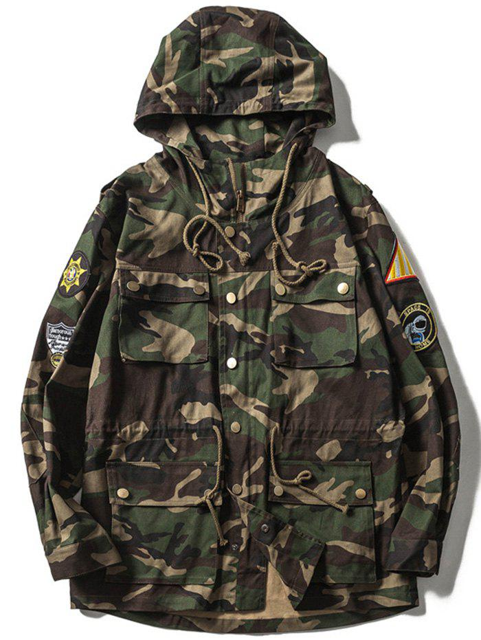 Veste Patches design Camo Multi-Pocket Drawstring Hooded VERT D'ARMEE Camouflage 2XL
