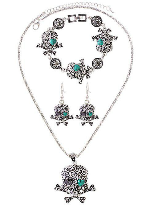 Faux Turquoise Heart Skull Jewelry SetJEWELRY<br><br>Color: SILVER; Item Type: Pendant Necklace; Gender: For Women; Style: Punk; Shape/Pattern: Skull; Weight: 0.130kg; Package Contents: 1 x Necklace 1 x Bracelet 1 x Earring (Pair);