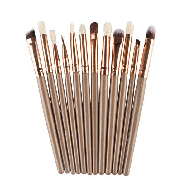 12 Pcs Goat Hair Eye Makeup Brush SetBEAUTY<br><br>Color: BROWN; Category: Makeup Brushes Set; Brush Hair Material: Goat Hair,Synthetic Hair; Features: Professional; Season: Fall,Spring,Summer,Winter; Weight: 0.100kg; Package Contents: 12 x Brushes?Pcs?;