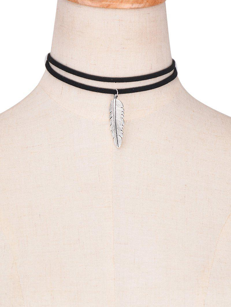 Fancy Faux Leather Alloy Feather Choker Necklace