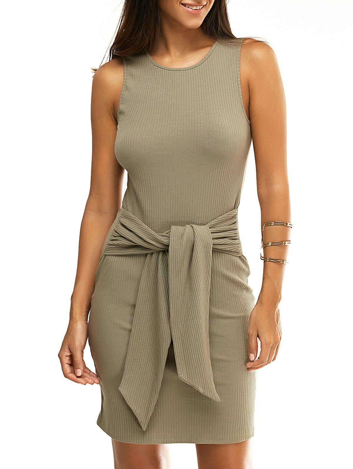 Online Fashionable Round Collar Sleeveless Knotted Pure Color Skinny Women's Dress