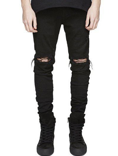 Knee Holes Frayed Zipper Fly Narrow Feet Ripped JeansMEN<br><br>Size: 34; Color: BLACK; Material: Jeans; Pant Length: Long Pants; Wash: Bleach; Fit Type: Regular; Waist Type: Mid; Closure Type: Zipper Fly; Weight: 0.5470kg; Package Contents: 1 x Jeans; With Belt: No;