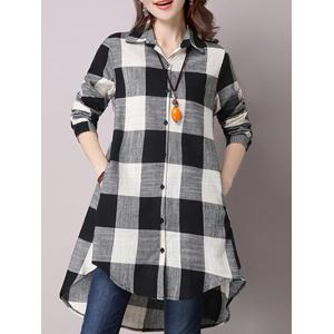 High Low Hem Plaid Button Down Shirt