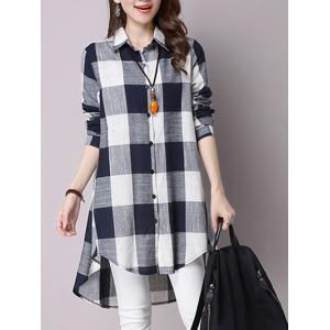 High Low Hem Plaid Button Down Shirt - Cadetblue - M