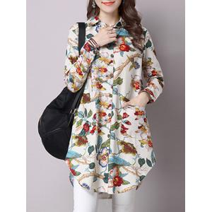 Floral Screen Print Loose Pocket Design Shirt - Red - L