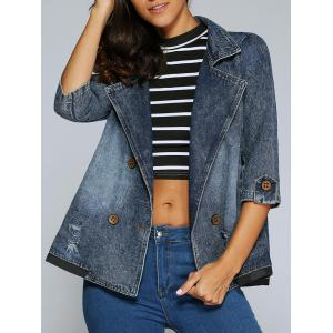 3/4 Sleeve Double-Breasted Broken Hole Denim Jacket - Denim Blue - M