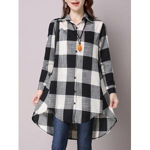 High Low Hem Plaid Button Down Shirt - BLACK 2XL
