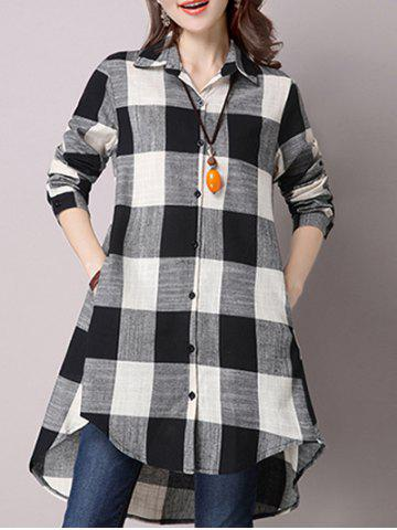 Outfit High Low Hem Plaid Button Down Shirt