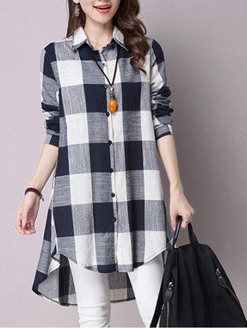 Fashion High Low Hem Plaid Button Down Shirt CADETBLUE XL