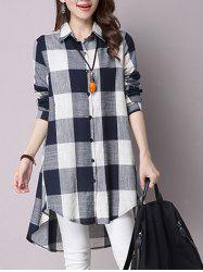 High Low Hem Plaid Button Down Shirt - CADETBLUE XL