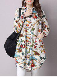 Floral Screen Print Loose Pocket Design Shirt
