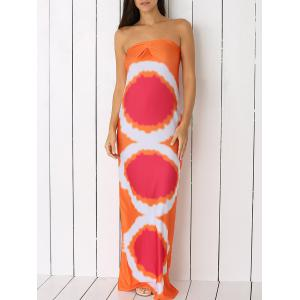 Geometric Strapless Bandeau Maxi Summer Dress