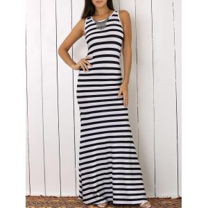 Sleeveless Striped Open Back Jersey Maxi Dress