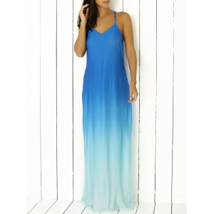 Spaghetti Strap Ombre Long Prom Backless Dress