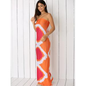 Geometric Strapless Maxi Dress - ORANGE L