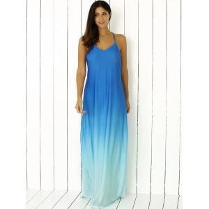Spaghetti Strap Ombre Long Prom Backless Dress - BLUE XL