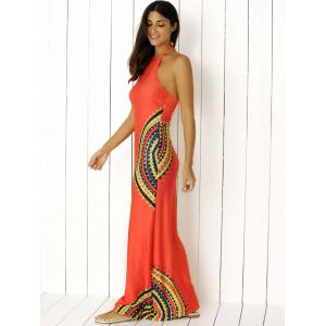 Halter Neck Scalloped Print Backless Long Maxi Boho Dress -