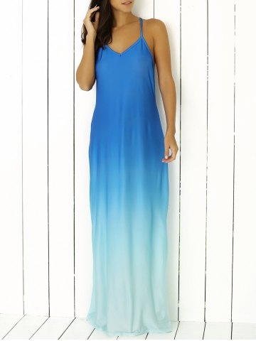 Spaghetti Strap Ombre Long Prom Backless Dress - Blue - S