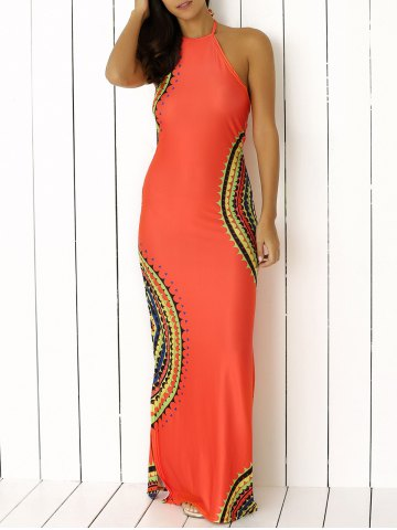 Halter Neck Scalloped Print Backless Long Maxi Boho Dress - Orange Red - S