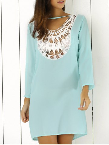 Store Lace Splicing Hollow Out Double-Wear Dress