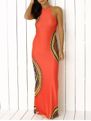 Halter Neck Scalloped Print Backless Long Maxi Boho Dress