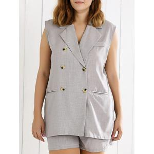 Double Breasted Sleeveless Vest and Shorts Suit