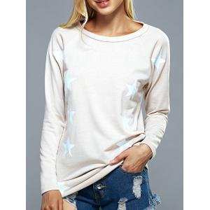 Raglan Sleeves Star Print Back Letter Sweatshirt