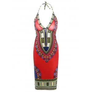 Ethnic Style Halter Backless Indian Dress
