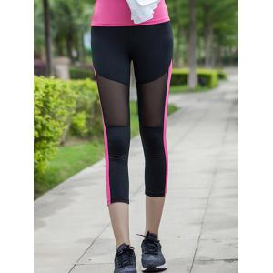 Mesh Spliced Sheer Cropped Leggings - Rose Red - 2xl