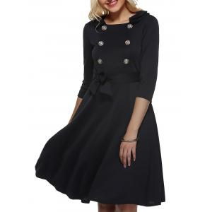 Vintage Half Sleeves Belted Buttoned Swing Dress - Black - M