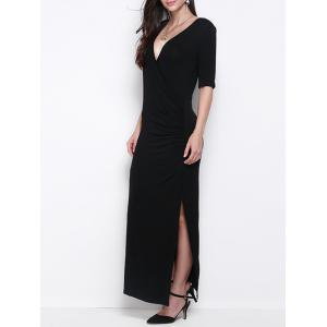 Slimming Half Sleeves Side Slit Maxi Dress