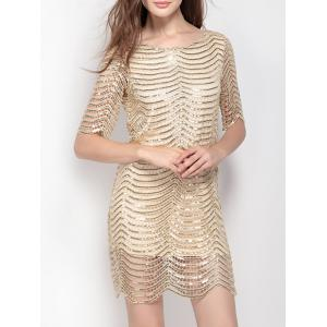 Backless Short Sequin Glitter Club Dress - Golden - Xs
