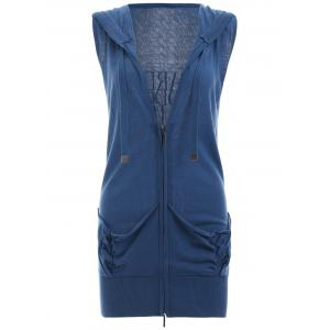 Back Letter Sleeveless Zipped Vest - Blue - S