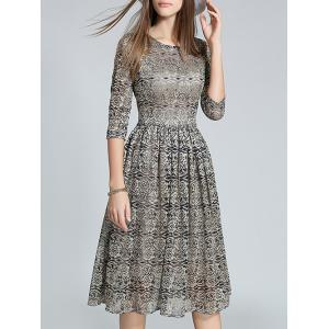 3/4 Sleeve Zipper Design Floral Pattern Lace Dress