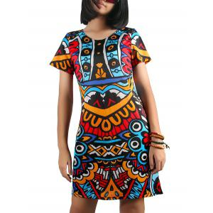 Jewel Collar Patterned Mini Dress