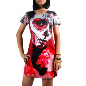 Figure Print A Line Dress - Red - L