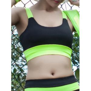 U Neck Strappy Color Block Sporty Bra - Neon Green - Xl
