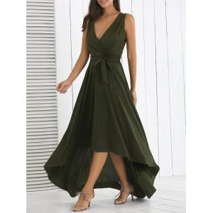 Surplice High Low Long Prom Swing Dress - Blackish Green - L