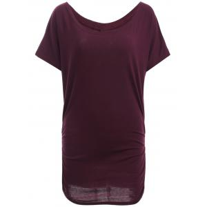 Boat Neck Dolman Sleeve Ruched T-Shirt