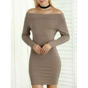 Off Shoulder Long Sleeves Sheath Short Dress