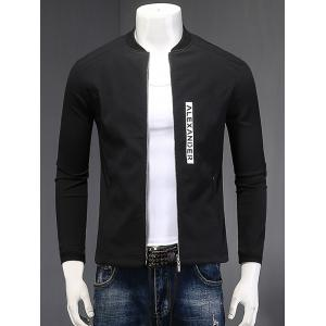 Stand Collar Zipper-Up Letter Printed Cotton Linen Jacket - Black - Xl
