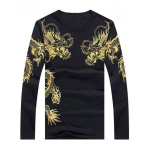 Totem Print Round Neck Long Sleeve T-Shirt