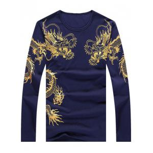 Totem Print Round Neck Long Sleeve T-Shirt - Cadetblue - L